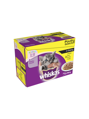 Whiskas Pouch Kitten Poultry Chunks In Gravy 12 Pack