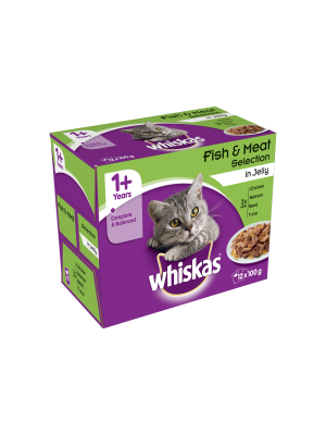 Whiskas Pouch Fish & Meat Selection in Jelly 12 Pack