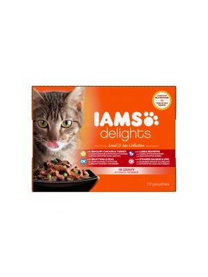 Iams Delights Cat Wet Land & Sea Collection in Gravy 12 Pack