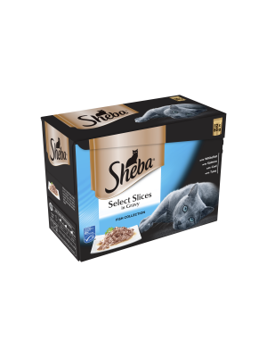 Sheba Pouch Select Slices Fish Gravy 12 Pack