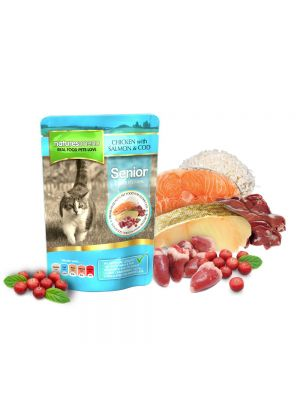 Natures Menu Chicken, Salmon and Cod for Senior Cats. (Pack of 12)