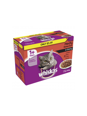 Whiskas Pouch Meat PM £3.49 12pk
