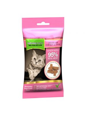 Natures Menu Real Meaty Cat Treats with Chicken and Liver. (Pack of 12)