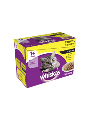 Whiskas 1+ Cat Pouches Poultry Selection in Gravy 12 Pack