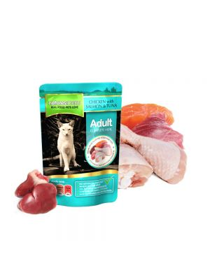 Natures Menu Chicken, Salmon & Tuna Cat Pouches. (Pack of 12)
