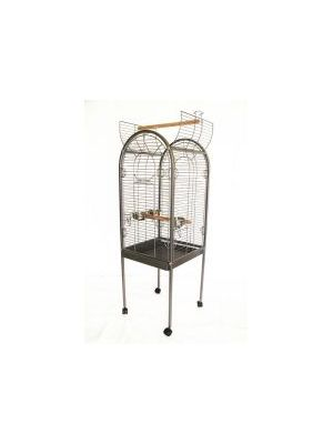 Lazy Bones Open Top Parrot Cage Silver