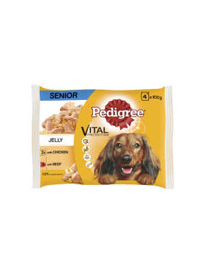 Pedigree Pouch in Jelly Senior with Beef & Chicken 4 Pack