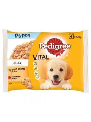 Pedigree Pouch in Jelly Puppy with Chicken and Rice & Beef and Rice 4 Pack