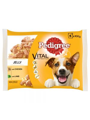 Pedigree Pouch in Jelly Chicken & Lamb 4 Pack