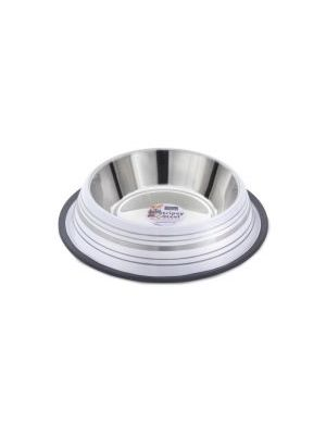 Fed 'N' Watered Stainless Steel Stripey Bowl - White
